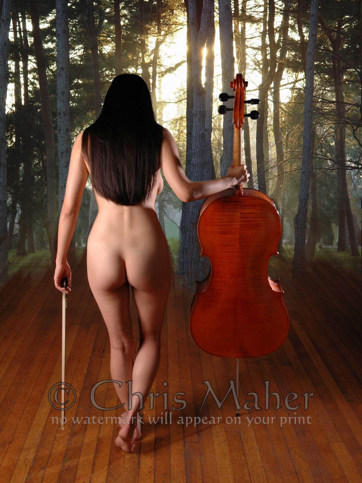 0182-Nude-Woman-Musician-Cello-bow-034-The-Cellist-034-Maher